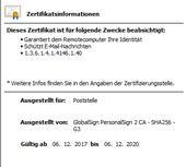 Öffetnlicher Schlüssel 230-Zertifikat
